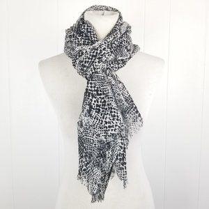 Calvin Klein Black and White Leopard Print Scarf
